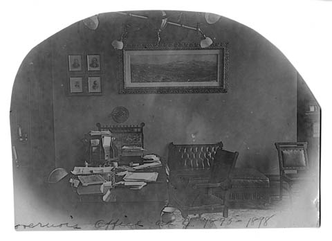The Governor's Office in the Wyoming State Capitol Building during Richard's term in office, 1895-1899. (WSA Sub Neg 21407)