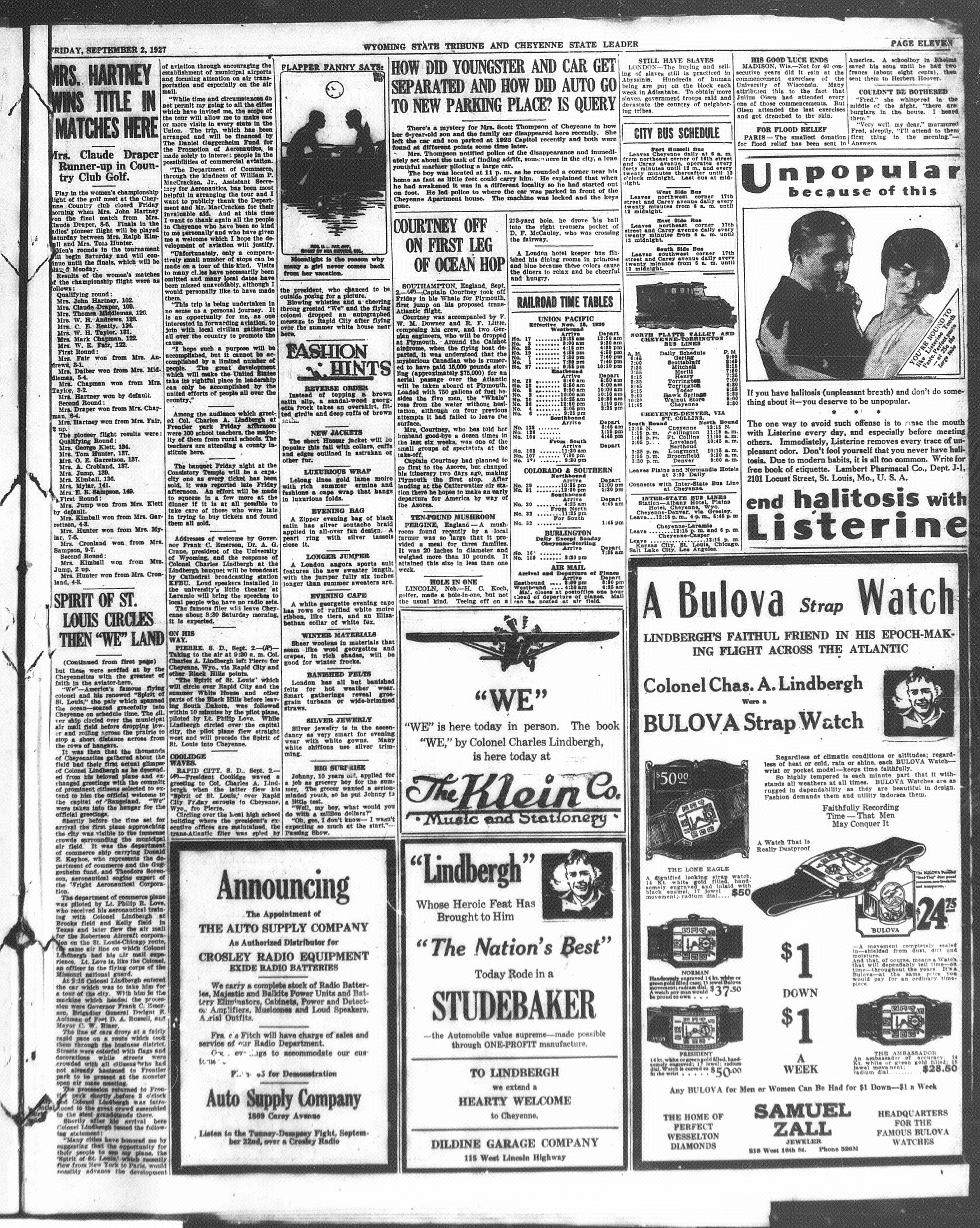 Ad for the Klein Music Co, Dildine Garage Company and Sam Zall Jewelers announcing ties of their products to Lindgbergh